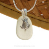 """Pale Sea Green sea glass set on a solid sterling cast bail with a sterling silver Sea Turtle charm. The sea glass necklace comes on our 18"""" solid sterling smooth snake chain (SHOWN and included)"""