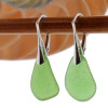 Genuine Sea Glass Earring shaped only by the sea, sand and time are suspended on solid sterling leverback earrings.