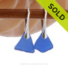 Petite Beach Found Blue Genuine Sea Glass Earrings On Solid Sterling Silver Leverbacks. SOLD - Sorry these Rare Sea Glass Earrings are NO LONGER AVAILABLE!