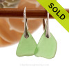 Green Genuine Beach Found Sea Glass Earrings On Sterling Silver Leverbacks