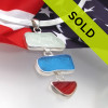 SORRY Patriots Delight - Rare Sea Glass In Silver - Red White & Blue  has been sold!