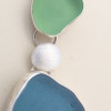 Detail of satin solid sterling spacers, handmade here in the studio of By The Sea Jewelry