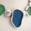 Necklace Detail - Gray blue sea glass with vivid seafoam green sea glass and hand made solid sterling spacers