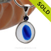 September Seas - Rare Mixed Vivid Blue ea Glass Pendant In Deluxe Wire Bezel With Sapphire  SOLD - Sorry this Sea Glass Jewelry Selection is NO LONGER AVAILABLE!