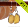 ULTRA RARE  -Warm Golden Yellow English Sea Glass Earrings In Solid Sterling  Wire Bezel©