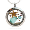 """Beautiful piece aqua genuine sea glass piece combined with a real starfish. Finished with a vivid brilliant cut aquamarine gem in this stainless steel twist top locket.  Comes with a Free PLATED 18 """" Chain (not shown).  Shown on our 2MM Solid Sterling Snake Chain (available as an upgrade)."""