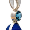 This round lab grown sappire brings a silky, iridescent shimmer to this design, Sapphire is one of the birthstones for September.