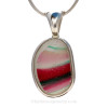 Red at Night - SUPER ULTRA RARE HUGE Pink & Green Multi Sea Glass In Sterling Deluxe Bezel© Setting