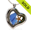 Beautiful pieces cobalt blue sea glass pieces combined with a real starfish. Finished with Bright Blue Crystal gems in this Genuine Sea Glass Heart Locket Necklace. SOLD - Sorry this Sea Glass Locket is NO LONGER AVAILABLE!