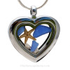 """Beautiful pieces cobalt blue sea glass pieces combined with a real starfish and tiny fresh water pearls in this Genuine Sea Glass Heart Locket Necklace. Comes with a Free PLATED 18 """" Chain (not shown)."""