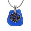 "Just For Mom - Cobalt Blue Genuine Sea Glass Necklace & Sterling MOM Heart Charm 18"" Solid Sterling Chain INCLUDED"