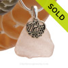 Not Perfect (but who is) piece of Depression Era Pink or Peach genuine sea glass with a solid sterling bail and MOM charm. This piece comes complete with our sterling 1.3MM snake chain. SOLD - Sorry this  Rare Sea Glass Necklace is NO LONGER AVAILABLE!
