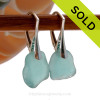 Thick Aqua Blue Beach Found Genuine Sea Glass Earrings On Solid Sterling Silver Leverbacks