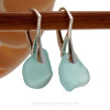 Thick Beach Found Aquae Blue Sea Glass Earrings on Sterling Silver Leverbacks.