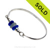 Seafoam & Blue Beach Found Sea Glass Bangle Bracelet In Solid Sterling Silver