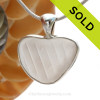 Lines On My Heart - Embossed White Natural Sea Glass Heart In Deluxe Sterling Bezel© Necklace Pendant