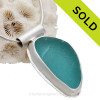 Electric Aqua or Turquoise in Classic Bezel of Sterling & Fine Silver with Sterling Tube Bail. SOLD - Sorry this Sea Glass Jewelry Selection is NO LONGER AVAILABLE!