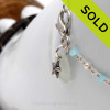 A simple white and aqua sea glass anklet with real pearls and aquamarine gems for your beach trips this summer. Great for beach brides too! SOLD - Sorry this Sea Glass Jewelry Selection is NO LONGER AVAILABLE!