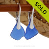 Genuine Cobalt Blue Thinner Beach Found Sea Glass Earrings on Sterling Leverback Earrings SOLD - Sorry these Sea Glass Earrings are NO LONGER AVAILABLE!