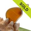 Ridged Amber Genuine Sea Glass In Gold Wire Bezel Setting©
