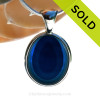 A Lovely Medium Sized Mixed Blue Seaham multi sea glass set in Sold Sterling Silver Deluxe Wire Bezel© pendant setting. SOLD - Sorry this Rare Sea Glass Pendant is NO LONGER AVAILABLE!