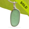 PERFECT Peridot Green Genuine Sea Glass Pendant in our Original Wire Bezel© in Sterling Silver
