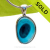A Lovely Medium Sized Mixed Electric Aqua Seaham multi sea glass set in Sold Sterling Silver Deluxe Wire Bezel© pendant setting. SOLD - Sorry this Rare Sea Glass Pendant is NO LONGER AVAILABLE