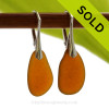 Genuine Larger Amber Brown Sea Glass Earring shaped only by the sea, sand and time are suspended on solid sterling leverback earrings. SOLD - Sorry these Sea Glass Earrings are NO LONGER AVAILABLE!