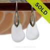 Genuine Perfect Beach Found Winter White Sea Glass Earrings on Sterling Silver Deco Hooks. SOLD - Sorry this Sea Glass Jewelry Selection is NO LONGER AVAILABLE!