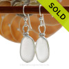 Natural UNALTERED white Sea Glass Earrings set in our Original Wire Bezel© setting in solid sterling silver. SOLD - Sorry these Sea Glass Earrings are NO LONGER AVAILABLE!