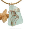 A stunning seafoam green Genuine Sea Glass Pendant set in our Signature Waves© setting in 14K Rolled Gold.