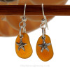 Perfect brown Genuine Sea Glass Earrings combined with Solid Sterling Starfish charms.