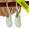 Perfect longer Seafoam Green beach found sea glass pieces set on Solid Sterling Silver Leverback Earrings. SOLD - Sorry these Sea Glass Earrings are NO LONGER AVAILABLE!