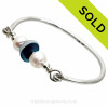 Mixed Vivid Teal Seaham Sea Glass Premium Bangle Bracelet In Solid Sterling With Pearls