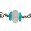 A detail of this Sea Glass Bracelet showing the lovely pure white color in the English Sea Glass.