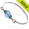 Two nice pieces of aqua green Hawaiian Sea Glass with Vivid Blue lampwork Glass Beads on this Solid Sterling Silver half round Sea Glass Bracelet. SOLD - Sorry this Sea Glass Bangle Bracelet is NO LONGER AVAILABLE!
