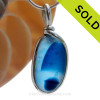 A Lovely Petite Mixed Vibrant Blue Seaham multi sea glass set in Sold Sterling Silver Deluxe Wire Bezel© pendant setting. SOLD - Sorry this Rare Sea Glass Pendant is NO LONGER AVAILABLE!