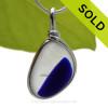 Petite Indigo Blue Multi Seaham Sea Glass In Sterling Silver Original Wire Bezel©