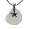 """Bright White Sea Glass Necklace with Sea Star  Charm - 18"""" Solid Sterling Chain INCLUDED"""