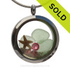 Genuine pastel seafoam sea glass pieces combined with a real starfish and crystal Pink tourmaline gems stainless steel locket. Finished in real beach sand for you own personal beach on the go! SOLD - Sorry this Sea Glass Locket is NO LONGER AVAILABLE!