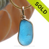 A vivid deep Electric Aqua English Multi sea glass set for a necklace in our Original Sea Glass Bezel© in 14K Goldfilled setting. SOLD - Sorry this Rare Sea Glass Pendant is NO LONGER AVAILABLE!