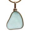 Thick Aqua Green Sea Glass Pendant In Original Wire Bezel Setting© In Gold