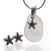 Perfect piece of Natural Winter White Sea Glass from Puerto Rico combined with Solid Sterling Starfish charms for a great beachy looking Sea Glass Necklace.