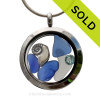 December Tides - Genuine Sea Glass, Sterling Nautilus Shell with Crystal Gems in a Stainless Steel Locket