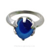 Stunning light and dark blue mixed sea glass in a solid sterling ring.