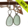 PERFECTLY MATCHED Seafoam Green Sea Glass Earrings set in our signature Original Wire Bezel© setting in silver. SOLD - Sorry these Sea Glass Earrings are NO LONGER AVAILABLE!