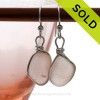 Beautiful chunky peach sea glass pieces from a beach in Seaham England are set in our signature sterling silver Original Wire Bezel© setting. SOLD - Sorry these Rare Sea Glass Earrings are NO LONGER AVAILABLE!