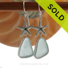 Limited Edition - Classically Set Aqua Sea Glass Earrings In Sterling With Starfish