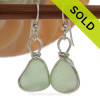 Yellowy Chunky Seafoam Green Sea Glass Earrings set in our signature Original Wire Bezel© setting in silver