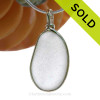 Perfect Larger and Longer Pure White Sea Glass Pendant In Original Wire Bezel©  In Sterling Silver